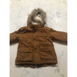 H&M winter coat with faux fur hood 9-12 mos